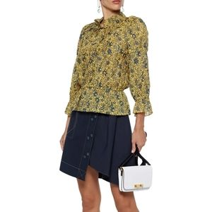 Derek Lam 10 Crosby Yellow Print Cotton Blouse